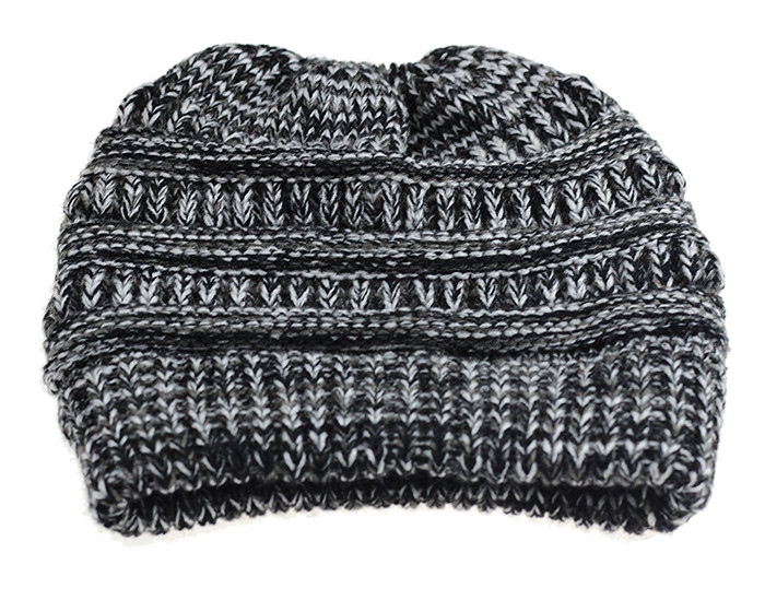Wholesale ponytail hat knitted skullies and beanies women knitted warm soft acrylic slouch cable knit cap