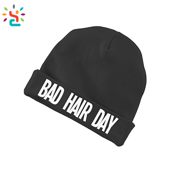 Woven or printing logo beanies Knit Black Bad Hair Day Beanie Hat Letter Beanie