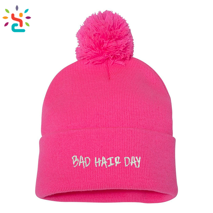 Adult Bad Hair Day Embroidered Kniting Beanie Pom Cap