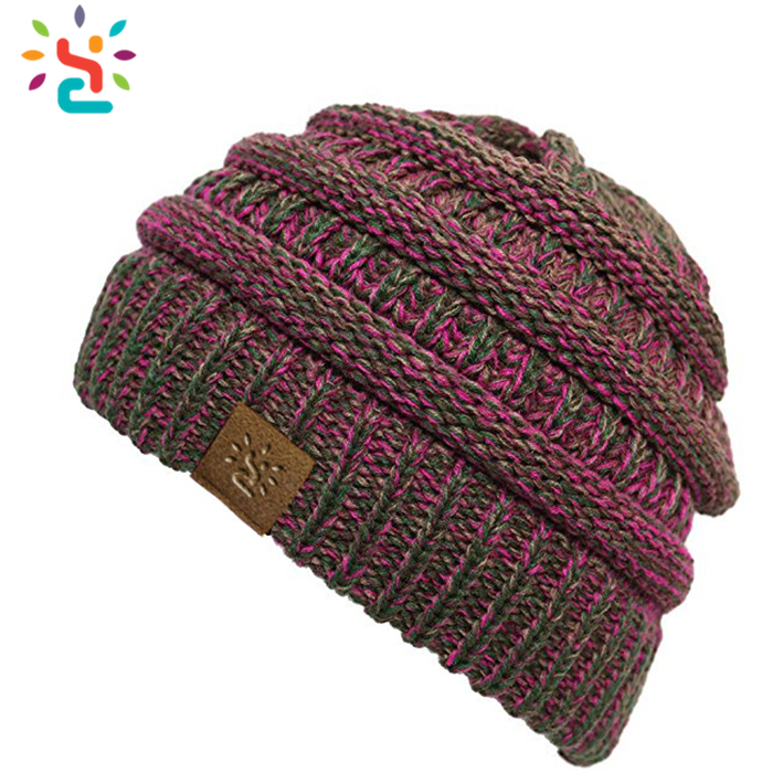Promotion slouchy beanie mens knitting striped beanie hat soft slouch winter hats