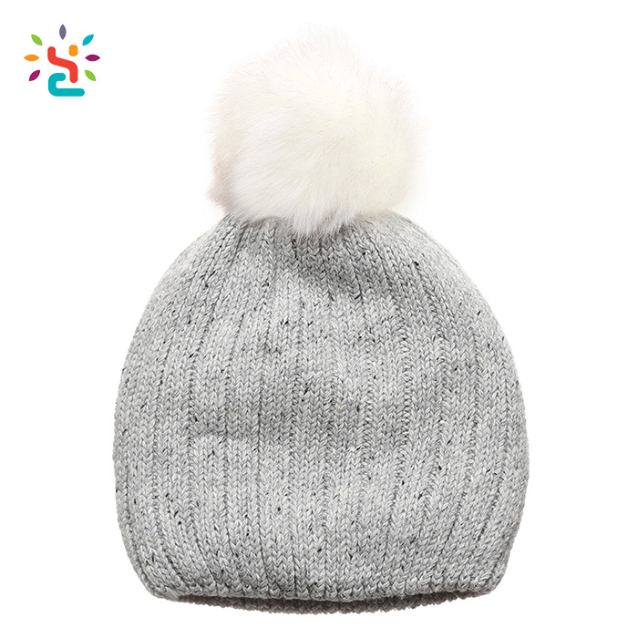 8b1696c6 Wholesale premium beanie knitted pom pom hat with faux fur ball beanie cap  warm winter hats