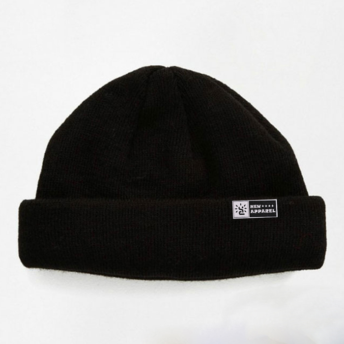 Free Patch Slouchy Knitted Beanie Hat Black Fisherman Beanie