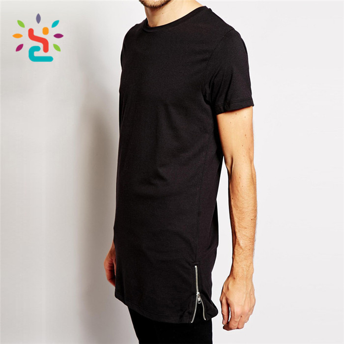 wholesale side zipper tees,custom streetwear t shirt with side zipper,Long tail t shirt,fresh yoga,new apparel