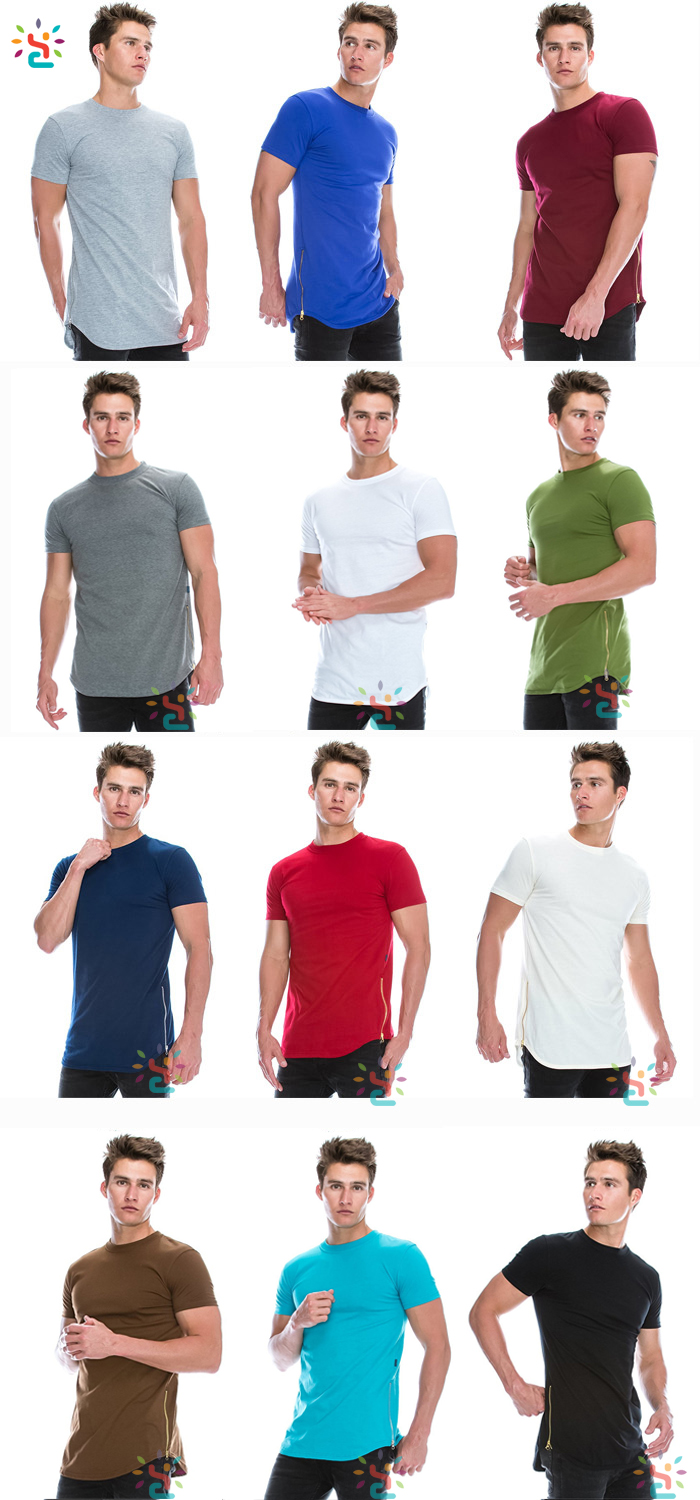 Wholesale mens zipper t shirt custom plain zip round neck oversized t-shirt men long tail t shirt colorful side zipper tees.jpg