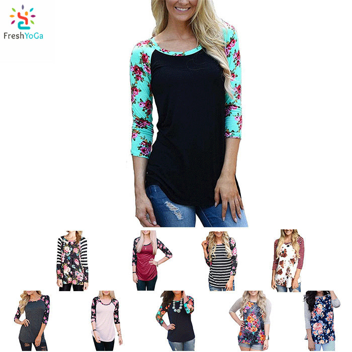 Fashion raglan 3/4 sleeve tee shirt womens baseball t shirt floral print tees custom,raglan 3/4 sleeve,womens baseball tee,floral print baseball tee,fresh yoga,new apparel