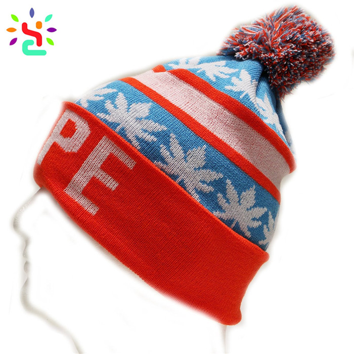 0f6fb5cf ... Wholesale beanies mens winter beanie knit cap jacquard leaves pom pom  beanie cap men,beanies ...