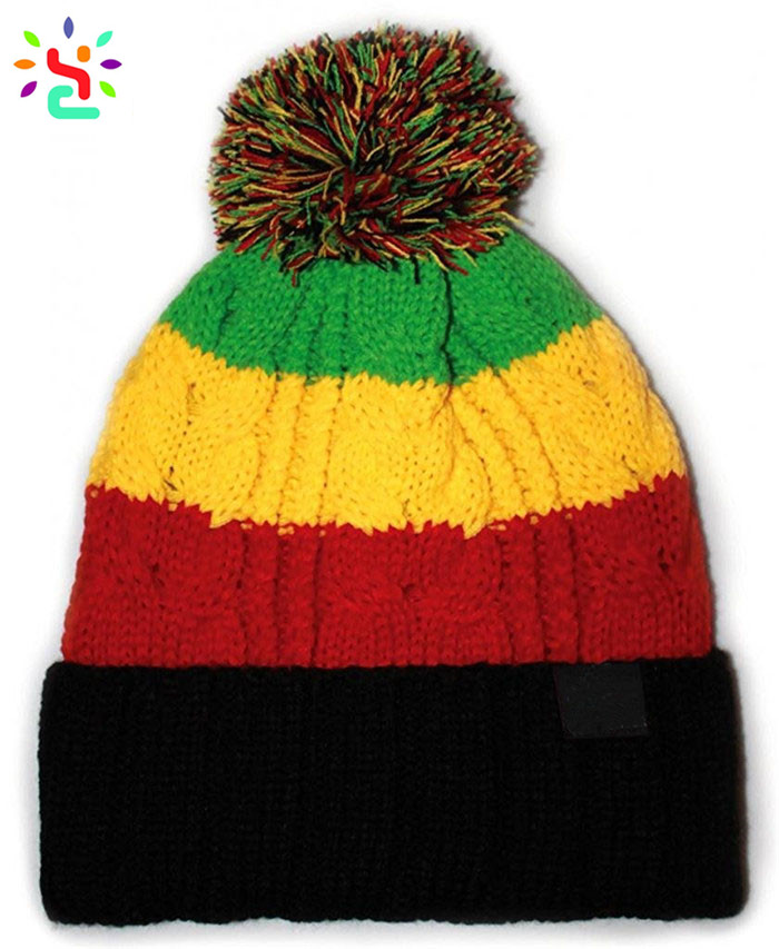New stripe pom pom beanie knit hat mens beanie hats knit winter hat warm cuff beanie with top ball cap,pom pom beanie,knit hat,Bold Stripe Pom Pom Knit Hat,New Apparel