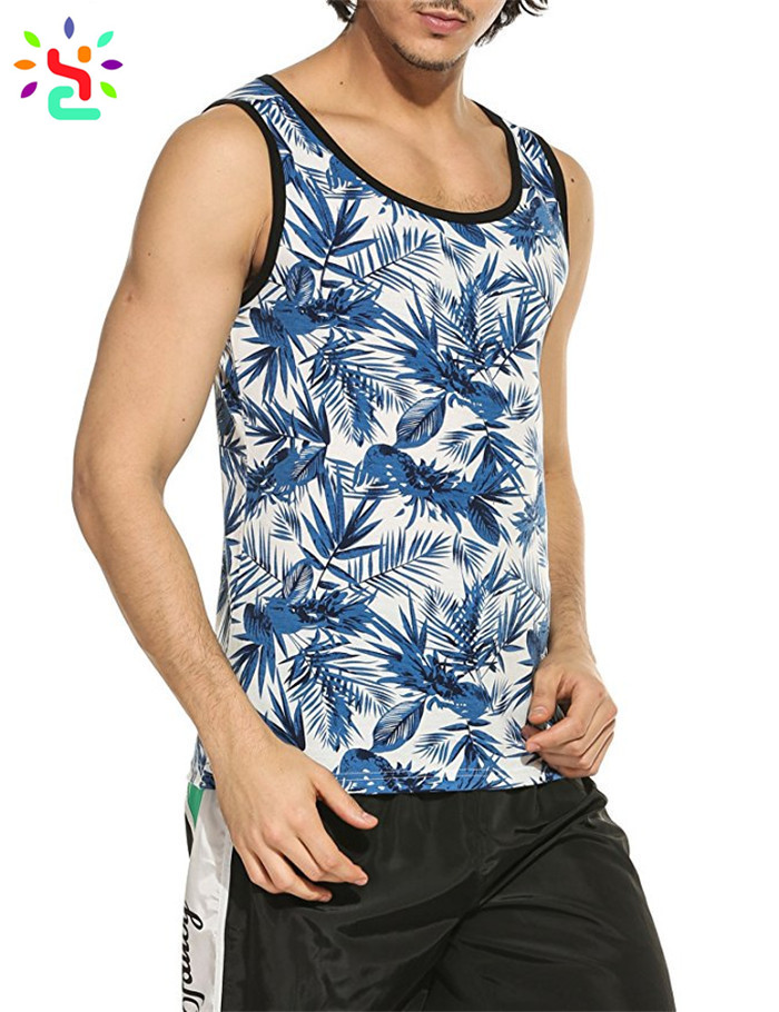 Custom printed tank top mens all over print singlet slim fit sleeveless t shirt casual pullover vest,printed tank top,all over print tank top,slim fit tank top,New Apparel