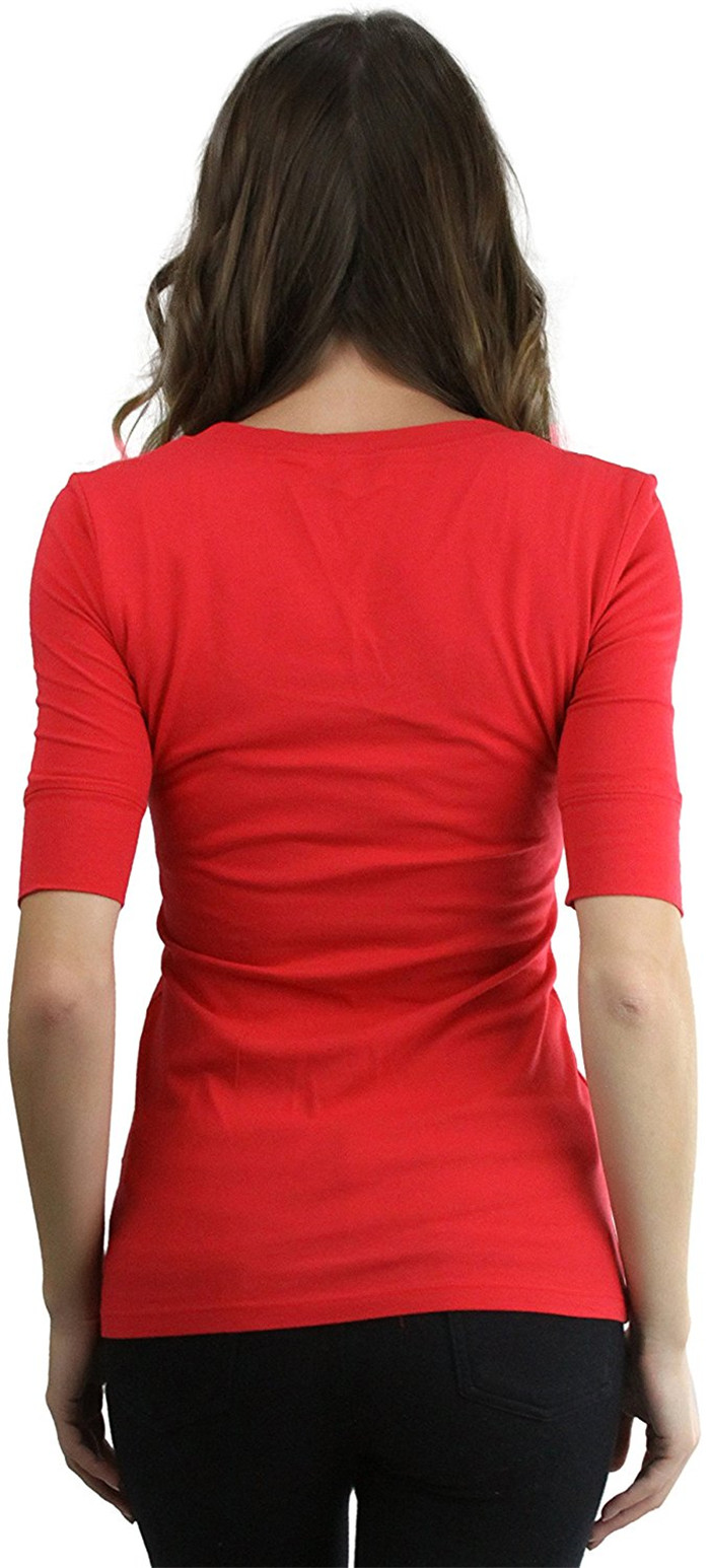 scoop neck tee,t-shirt slim fit,Elbow Length Sleeve t shirt,freshyoga